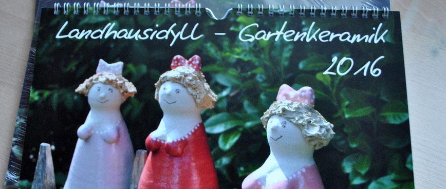 Wandkalendender Landhausidyll-Gartenkeramik