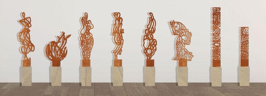 Collection en préparation, acier corten, hauteur 100 cm