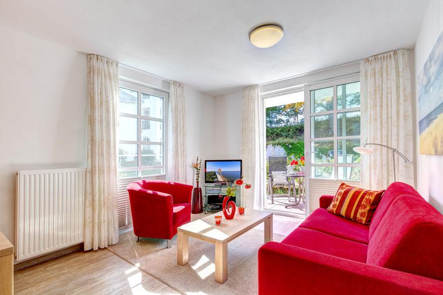 Residenz am Balmer See, Haus B mit Appartement 45, Ferienwohnung GolfundMeer, Wohnzimmer,  Photo © Tomasz Zając 12.2018