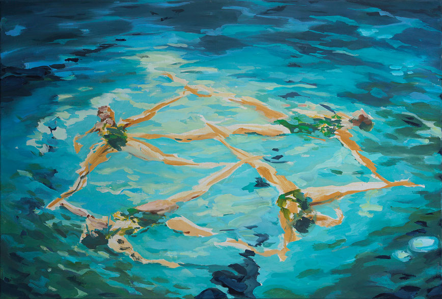 1999 Schwimmerinnen Öl auf Leinen 80 x 120 cm