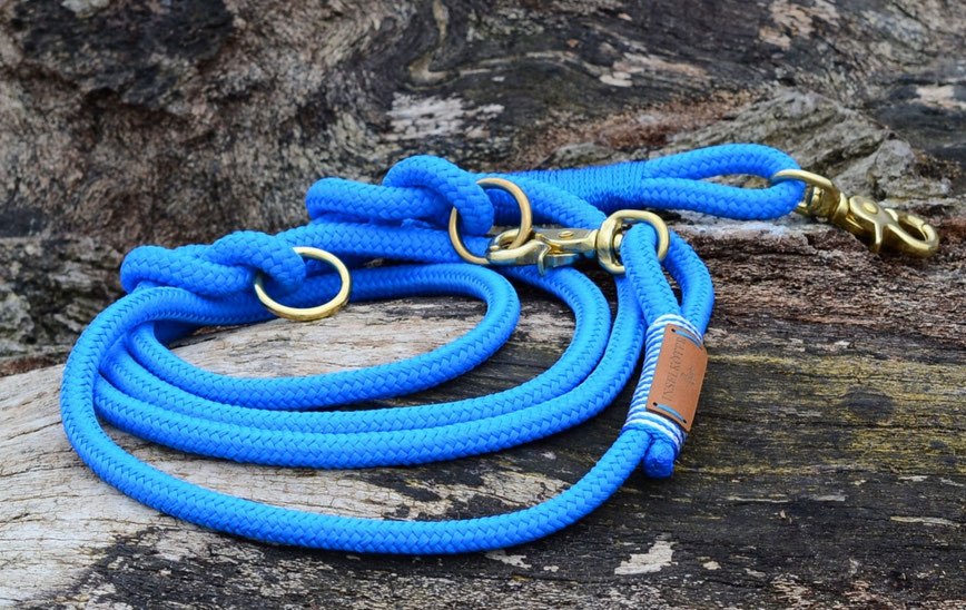 Hundeleine aus Segel-Tauwerk in blau