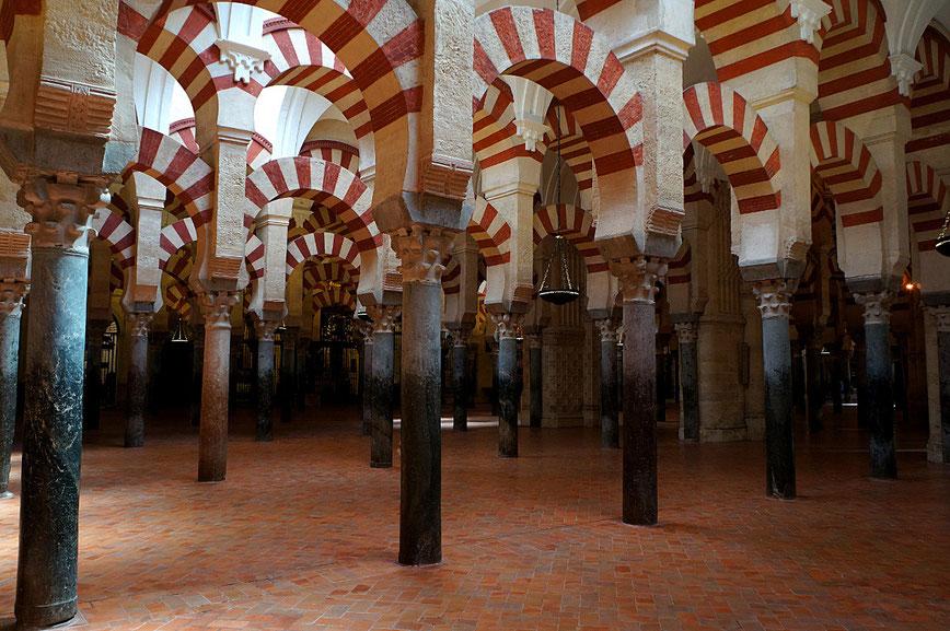 Photographie, Espagne, Andalousie, Cordoue, mosquée, édifice religieux, colonnades, omeyyade, mosaïque , islam, art, architecture, lumière,salle de prières, arcs, stucs, religion, Mathieu Guillochon