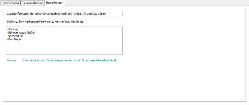 Schichtdatenmaske mit Bemerkungsfeld zur Erfassung von Zusatzinformationen nach EN ISO 14688-1/2 und 14689