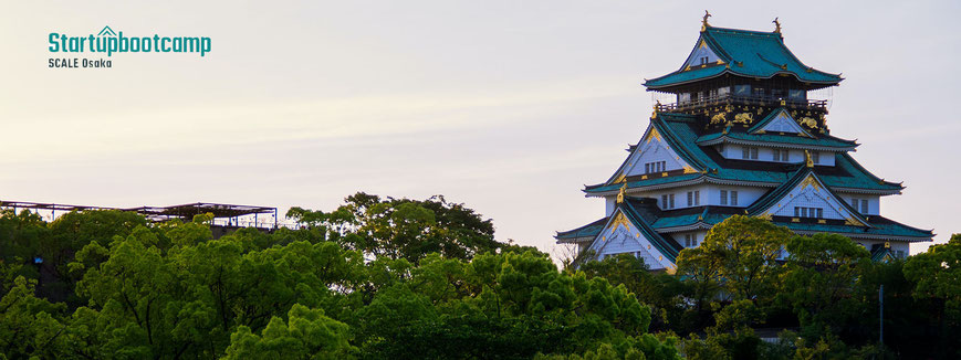 Startupbootcamp logo and image of Osaka Castle