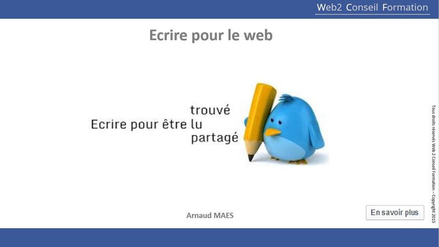"""Formation """"Ecrire pour le web : techniques de référencement et écriture web"""" du Cabinet Web 2 Conseil Formation"""