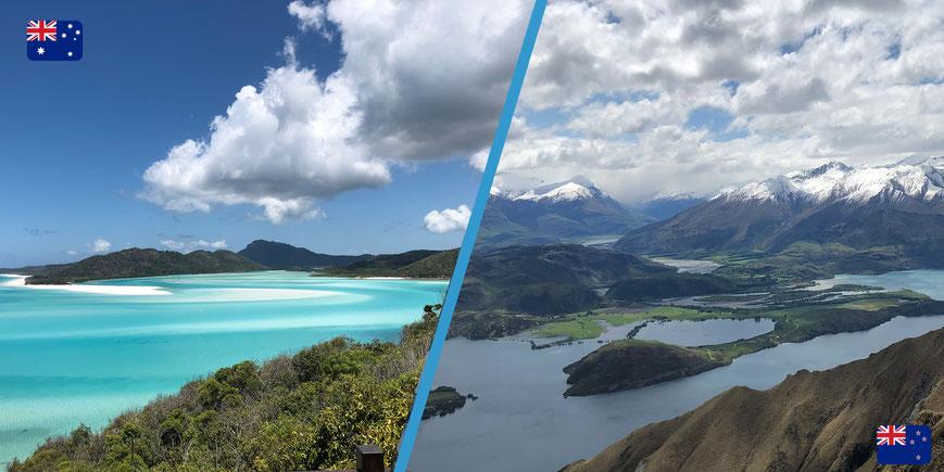 Collage natuur Australië en Nieuw-Zeeland