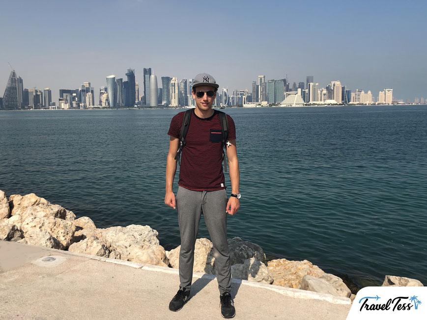 Panoramische skyline zakencentrum Doha