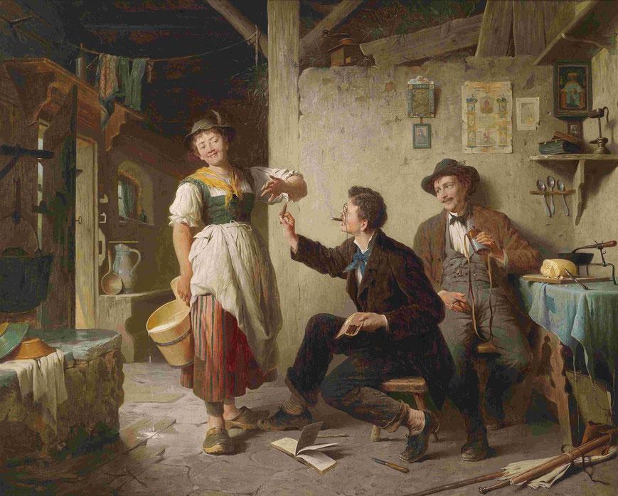 In einer Bauernstube bietet ein Herr, vielleicht ein Student, einer Magd eine Zigarre an. Das Mädchen lächelt und macht eine abwehrende Handbewegung.