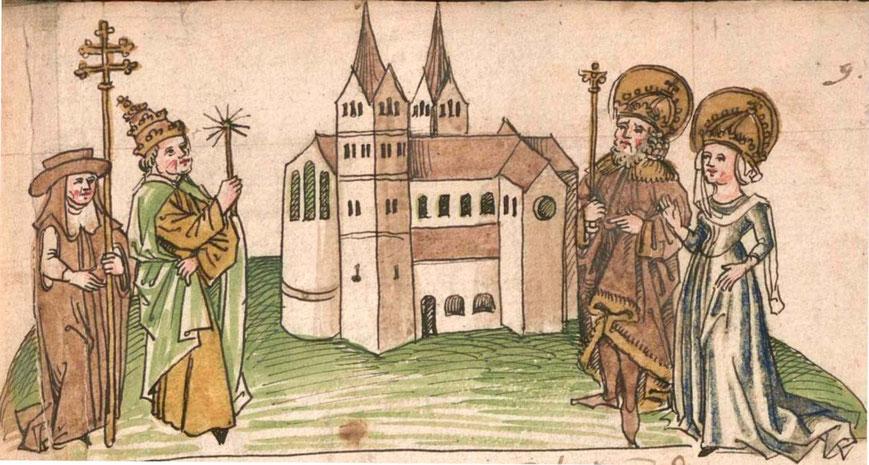 Kemptener Klosterchronik von 1499. Hildegard als Förderin des Kemptener Klosters ist rechts neben Karl dem Großen abgebildet.
