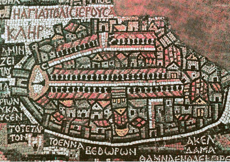 Das Jerusalem des 6. Jahrhunderts als Mosaik. Teil der Mosaikkarte in der St. Georgskirche in Madaba in Jordanien