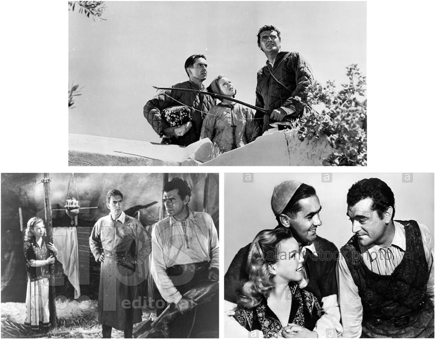 Tyrone Power, Jack Hawkins et Cécile Aubry dans le film La Rose Noire de H Hathaway