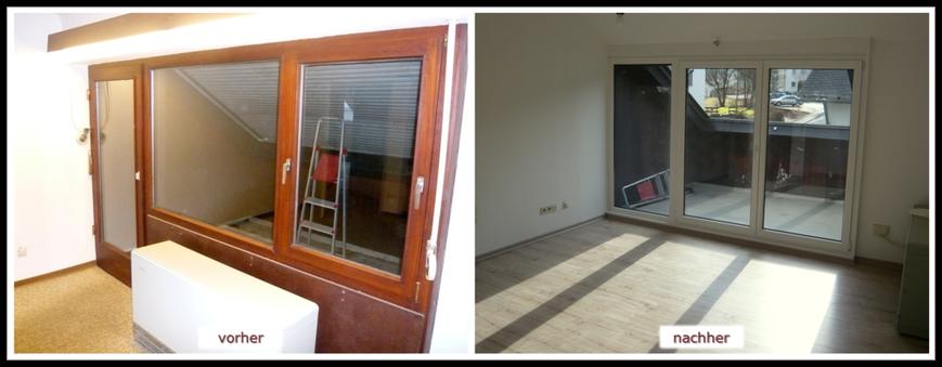 Erneuerung Balkontüranlage (REHAU Kunststoffprofile weiß innen, Dekor Mahagoni außen) und Laminat Fußboden