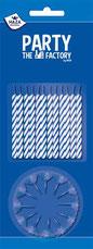 Taartkaarsjes blauw 24 stuks € 1,05