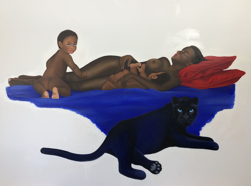 Venus after Giorgione with Twins/One, Oil on Canvas, 150 x 200 cm, 2020.
