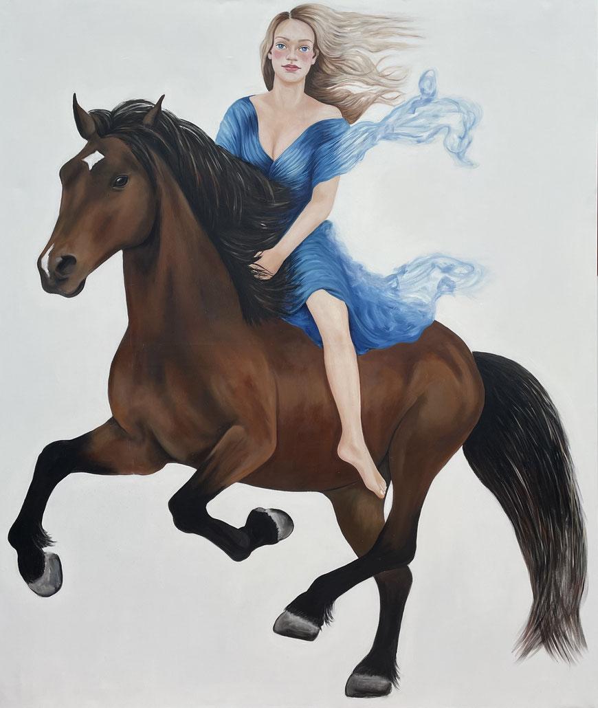 Mara on a horse, Oil on Canvas, 200 x 170 cm, 2021.