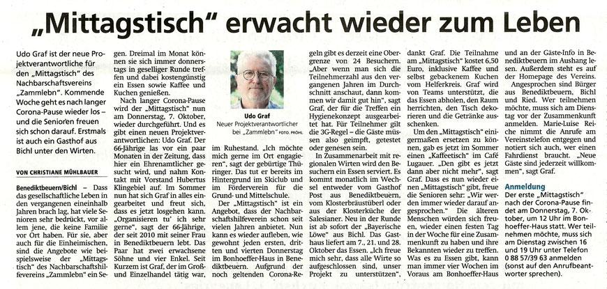 Bericht von Christiane Mühlbauer im Tölzer Kurier vom 2.09 2021