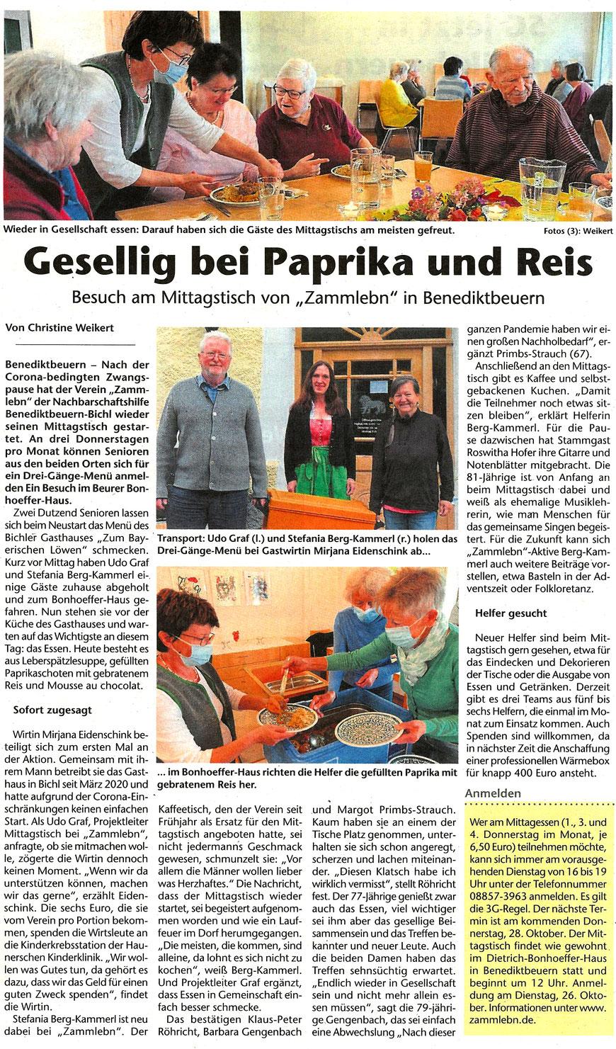 Bericht von Christine Weikert im Gelben Blatt Penzberg vom 23.Oktober 2021