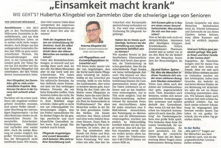Interview mit dem stellv. Vorstand Hubertus Klingebiel im Tölzer Kurier vom 05.02.2021
