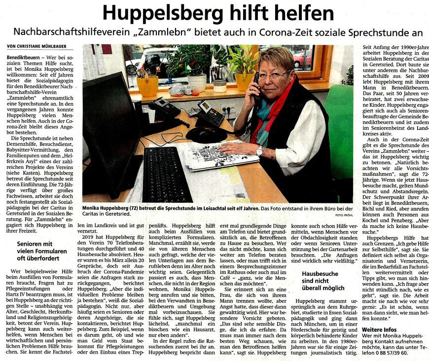 Bericht von Christiane Mühlbauer über die Tätigkeit von Monika Huppelsberg im Tölzer Kurier vom 30.9.20