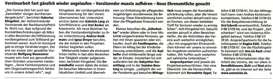 Bericht von Christiane Mühlbauer  im Tölzer Kurier vom 30.9.20