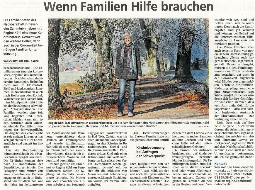 Bericht von Christiane Mühlbauer über den Wechsel in der Leitung der Familienpaten im Tölzer Kurier vom 01.12.2020