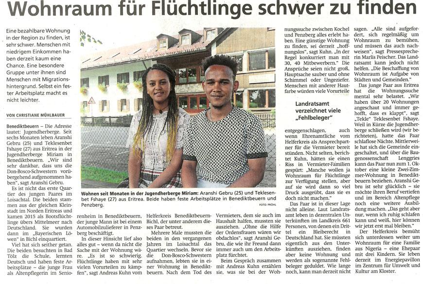 Bericht von Christiane Mühlbauer im Tölzer Kurier vom 21.08. 2021