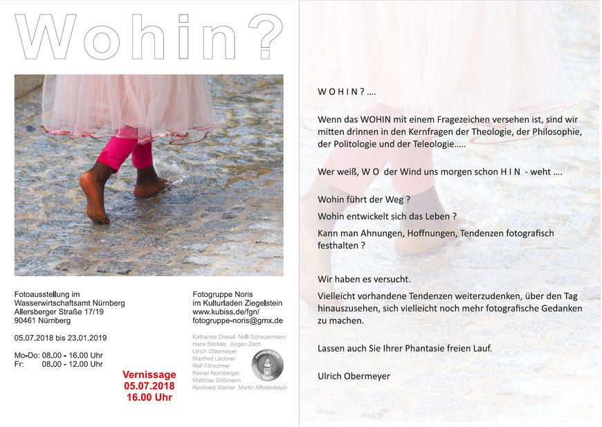 Flyer zur Ausstellung WOHIN