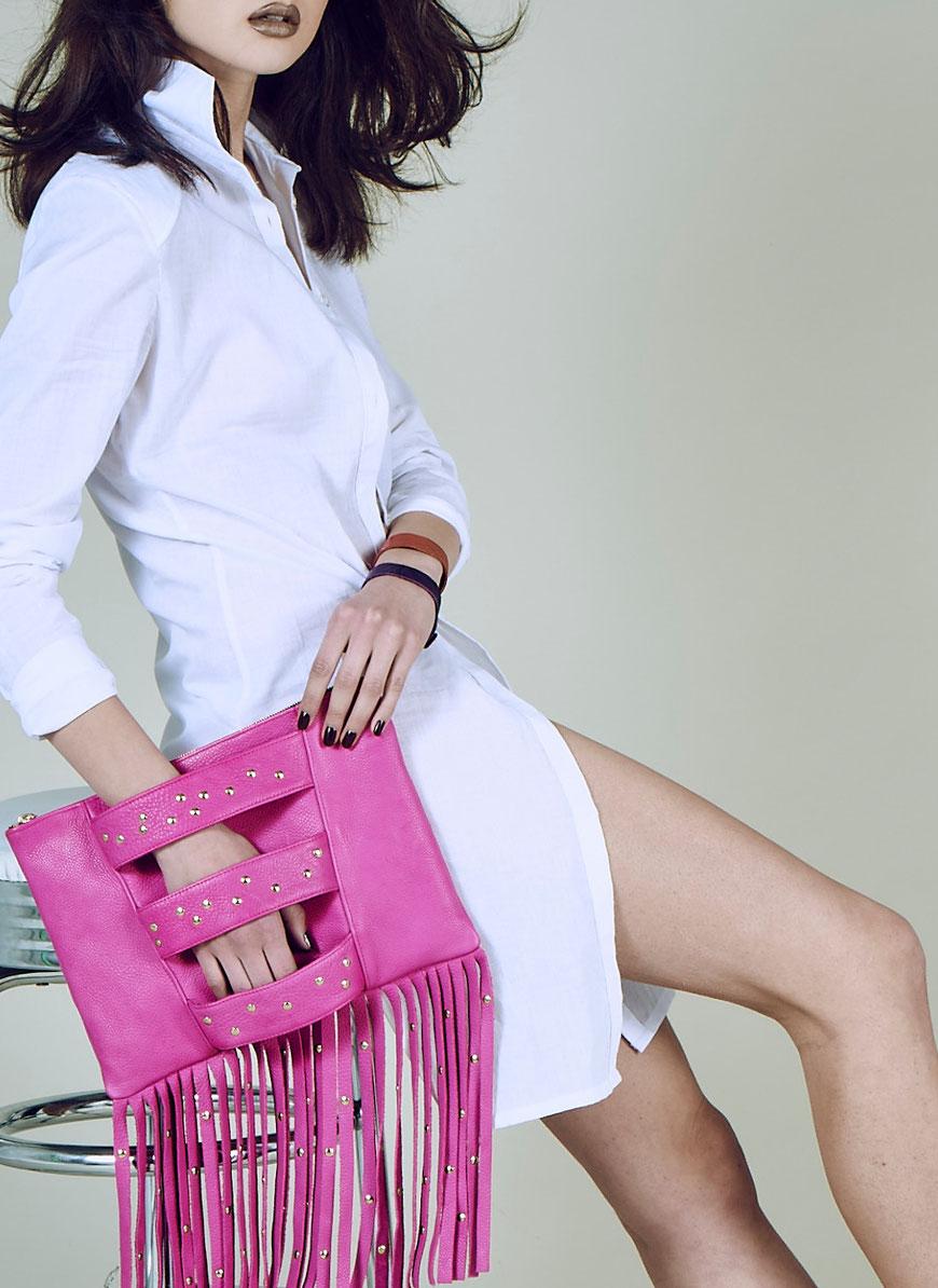 Embellished Truth Sultanah Fringe eco-friendly chrome free leather clutch bag ecoluxury sustainable fashion