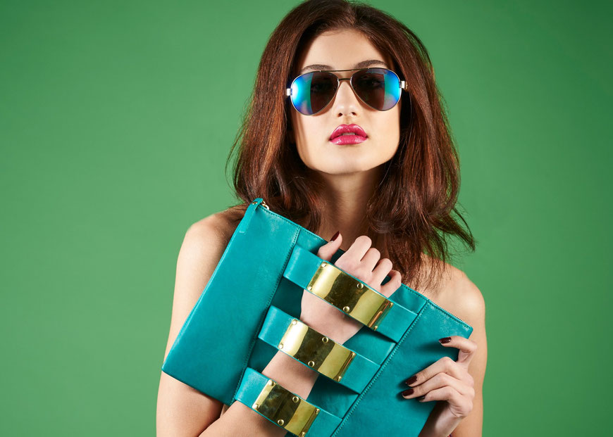 Embellished Truth Tropical Sheikha eco-friendly chrome free leather clutch bag recycled brass bombshells made in London bamboo eyewear sunglasses