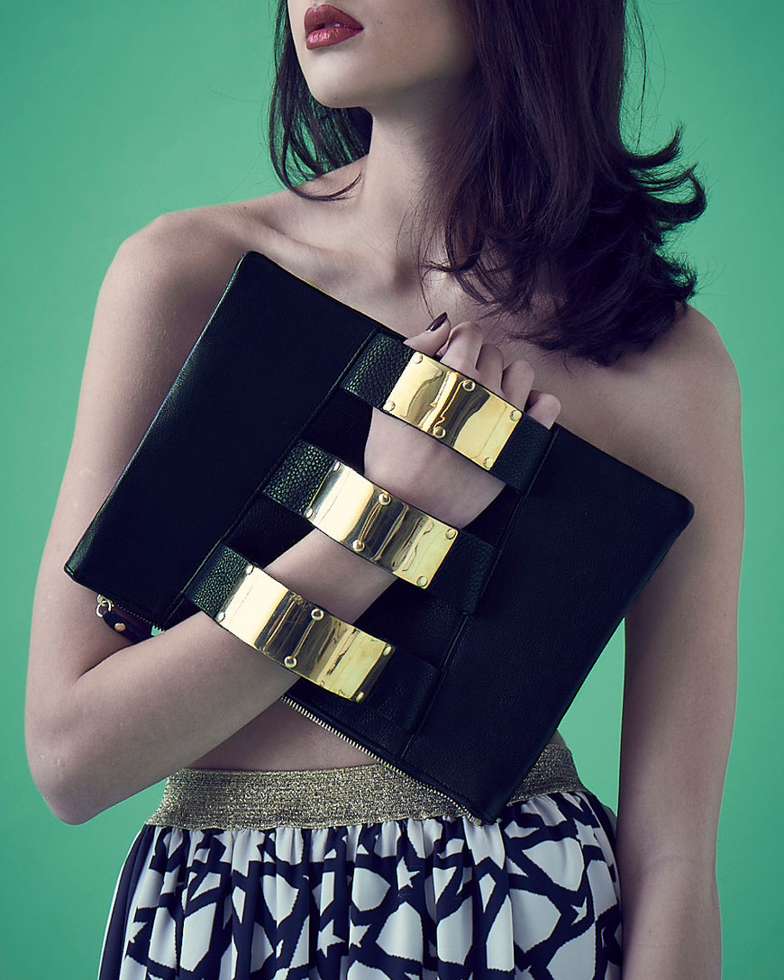 Embellished Truth beautiful Black Sheikha eco friendly chrome free leather clutch bag lookbook sustainable ecoluxury