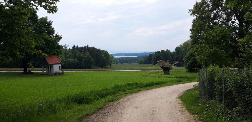 Blick auf den Simssee von Bad Endorf, Foto: Bettina Krogemann