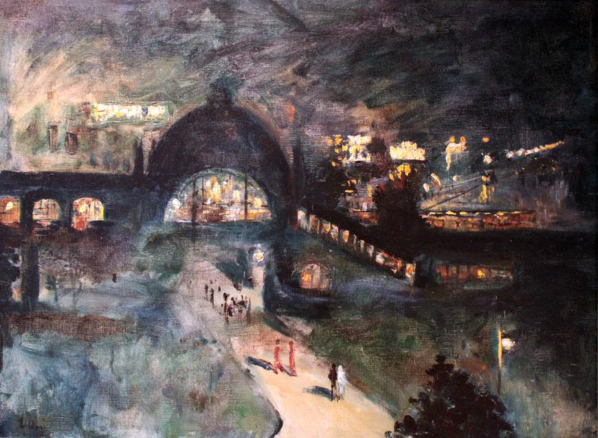 Lesser Ury, 'Bahnhof Nollendorfplatz bei Nacht anagoria', 1925, Märkisches Museum Berlin.