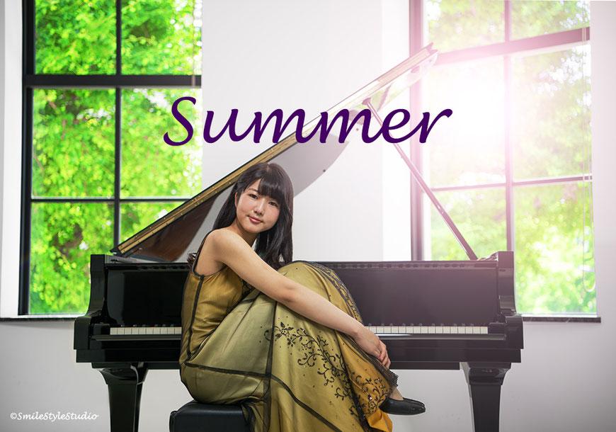 ピアニストRinako プロフィール写真 2018.06.04 カメラHibiki スタイリングKana メイクRinako、まぶたとノーズに少しだけ汗。