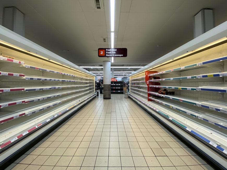 Effectuation in Zeiten von Corona, leere Supermarktregale, Zeit zu gestalten