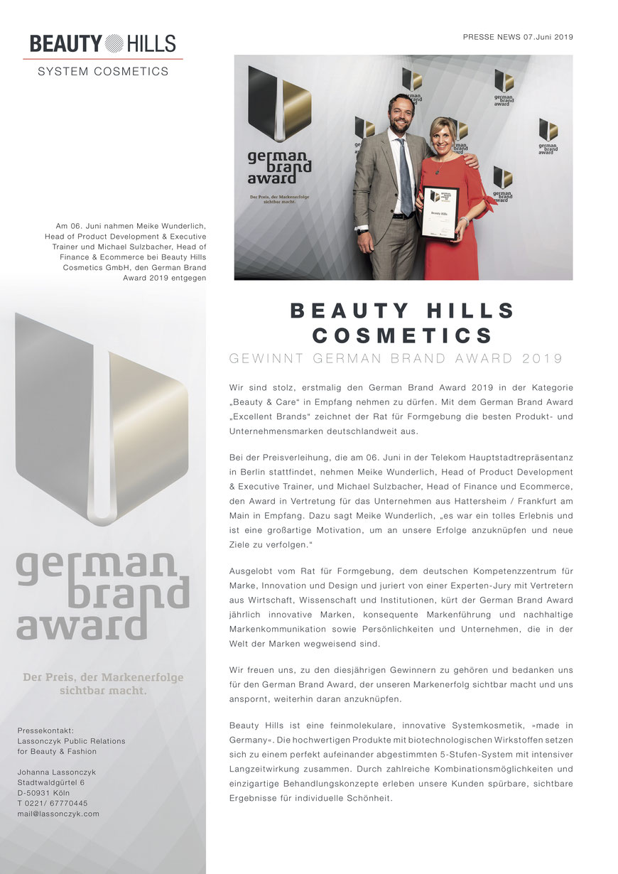 Beauty Hills, Kosmetik, Schönheit, German Brand Award, Winner, Preisgekrönte Kosmetik, Beauty and Care, Michael Sulzbacher, Meike Wunderlich