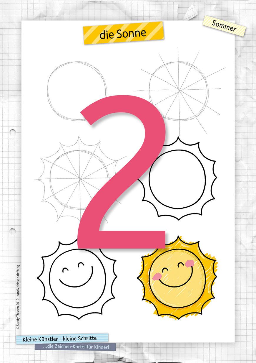 Eine Sonne zeichnen lernen in 6 kleinen Schritten Stiftekästchen Blog Sandy Thissen