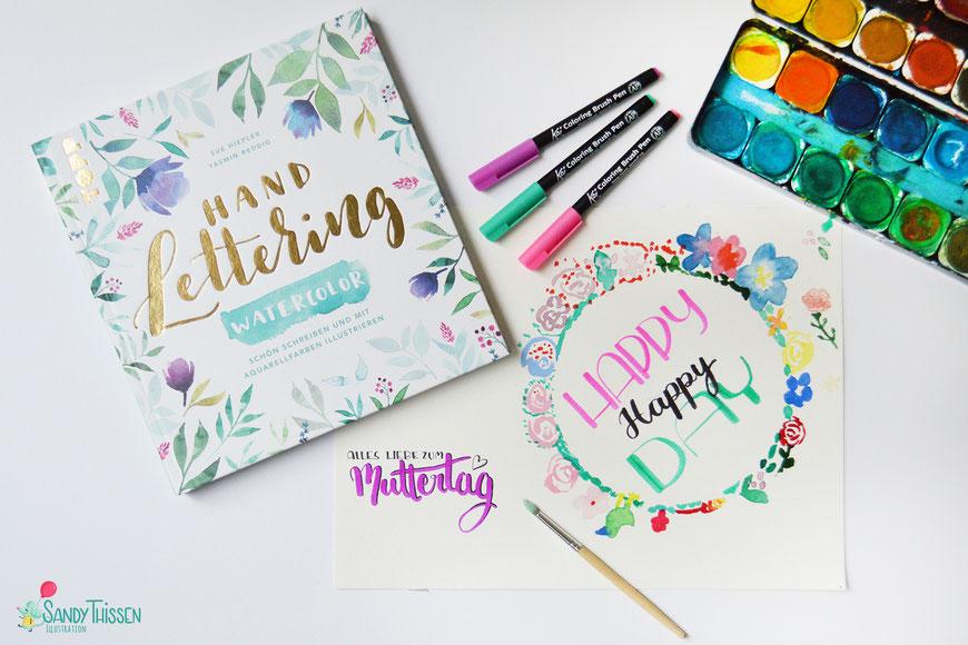 malen basteln zeichnen watercolor wasserfarben lettering DIY Mama Kind Kinder Muttertag Hochzeit Geburtstag zusammen malen Blumenkranz Blumen karten Illustratorin Blogger Sandy Thissen Stiftekästchen Blog