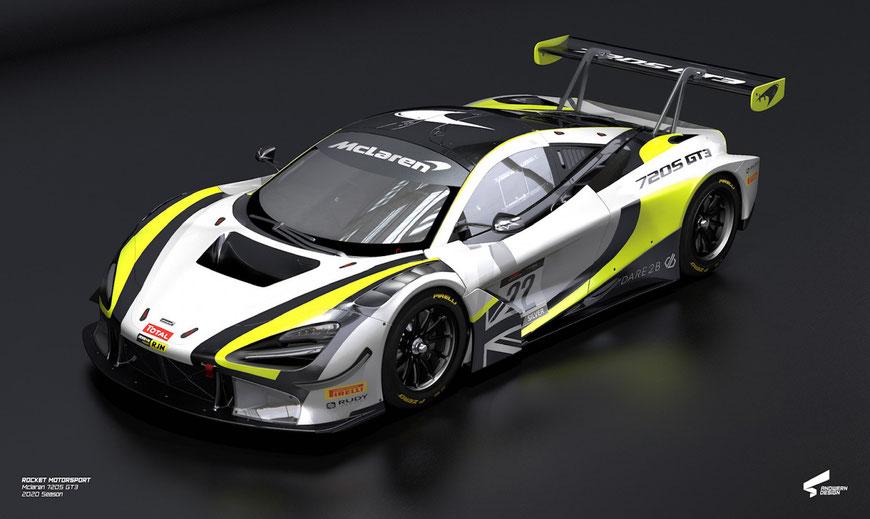 Der McLaren 720s GT3 in den selben Farben wie einst der Brawn GP von Jenson Button