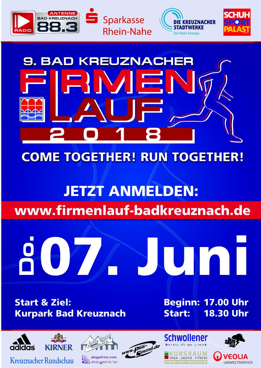 Wir nehmen mit 16 Personen am 9. Firmenlauf Bad Kreuznach teil.