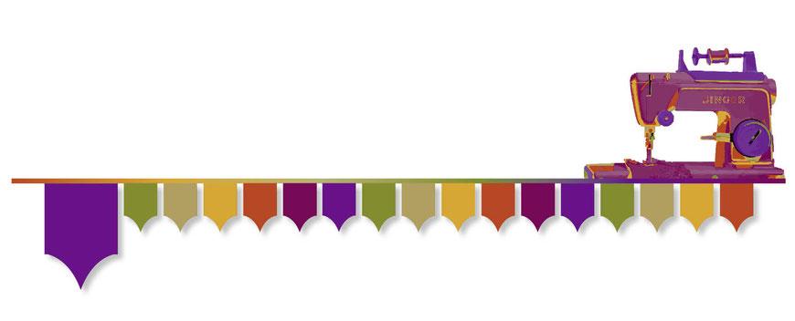 Funkenflug Design Nähschule ganz vernaht home Grafik Nähmaschine lila