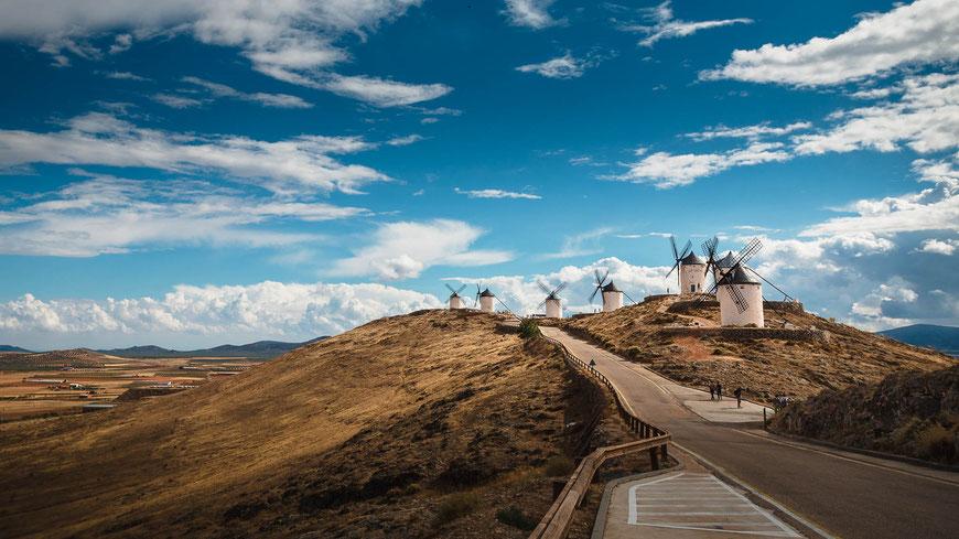 Don Quijote Windmühlen in Consuegra, Spanien, Landschaftsfotografie, Landschaft