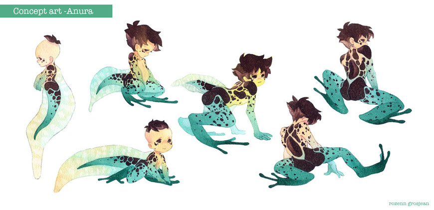 character design, frog character, tadpole, mermaid, watercolor, concept art