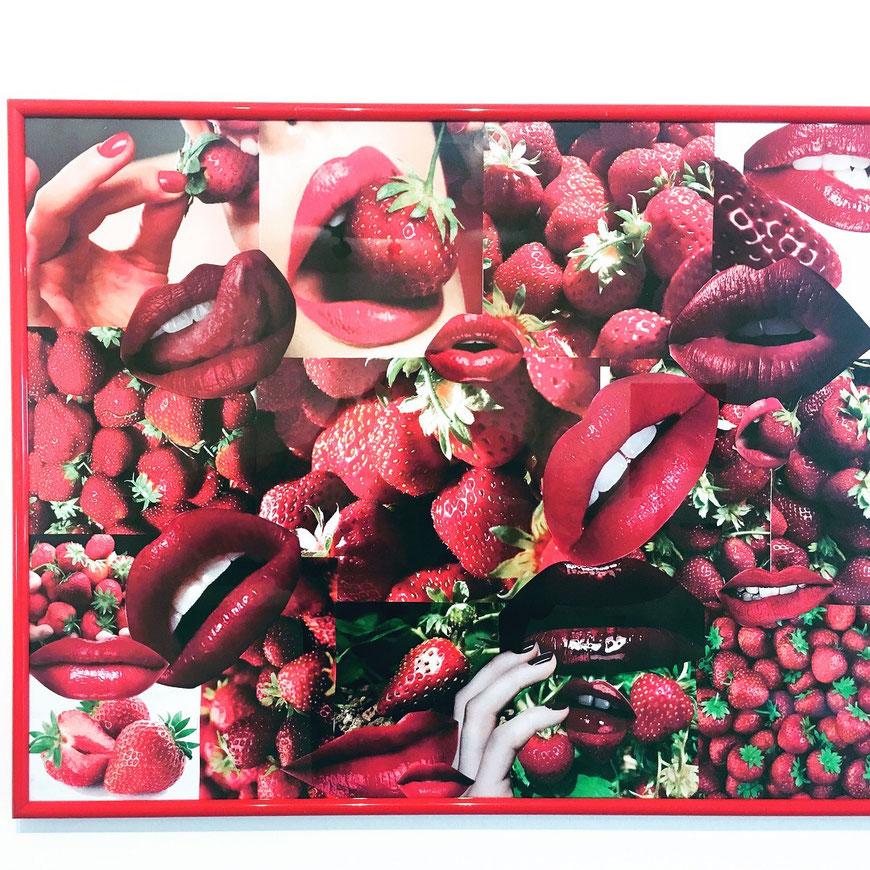 Ich bin so wild nach deinem Erdbeermund - Collage auf Papier