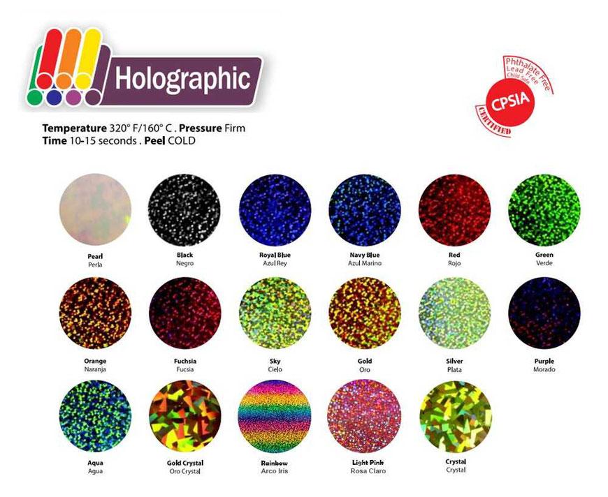 Carta de colores vinilo textil holográfico de Siser