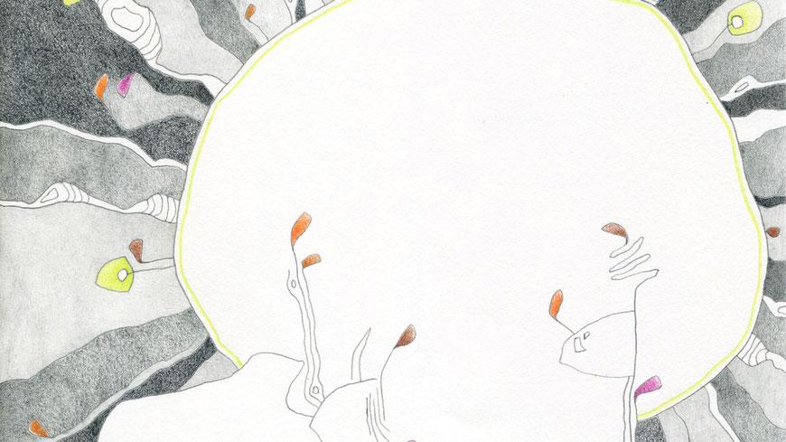 SCHWARZE SONNE (ausschnitt) / 19 x 19 cm / bleistift, buntstift auf papier