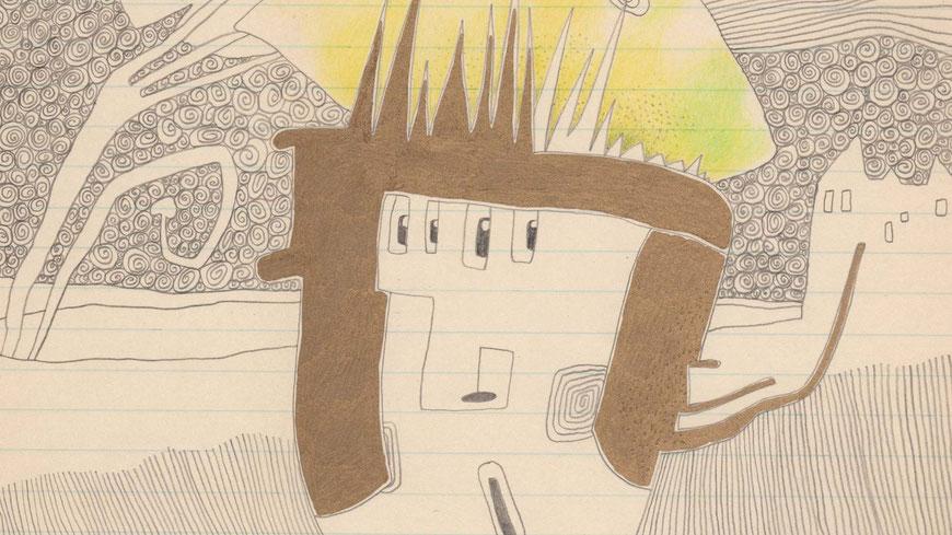 tagesbefindlichkeiten - SPINNENÄUGIGER ZITRONEN-RÖMER (ausschnitt) / 21 x 30 cm / 2014 / bleistift, buntstift, goldstift auf papier