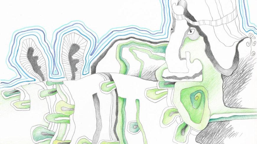 DAS UNTERWASSERRÜSSELTIER RÜSSELT NUR HIER! (ausschnitt) / 18 x 26 cm / bleistift, buntstift auf papier