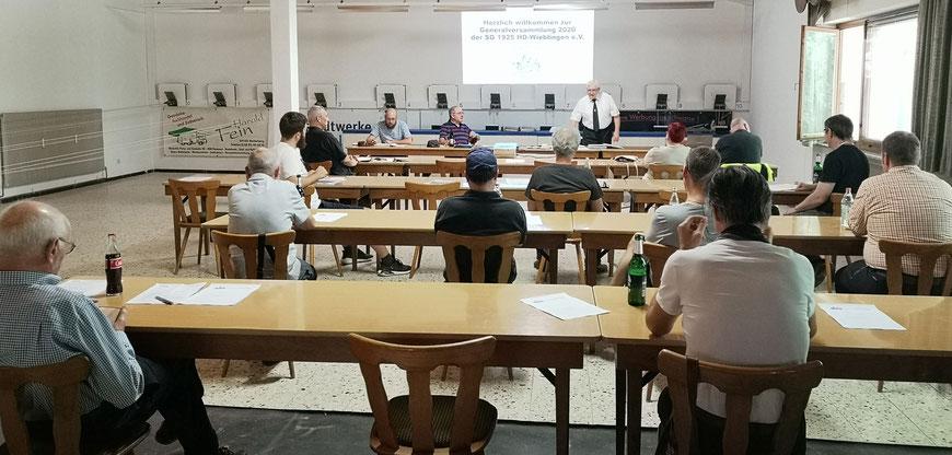"""Die anwesenden Mitglieder der Generalversammlung 2020 unter """"Corona-Bedingungen"""""""