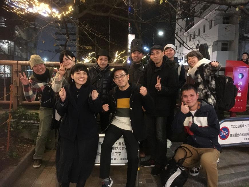 レーベル企画のイベント打ち上げ写真。杉本清隆、コントラリーパレード、歌手常盤ゆう