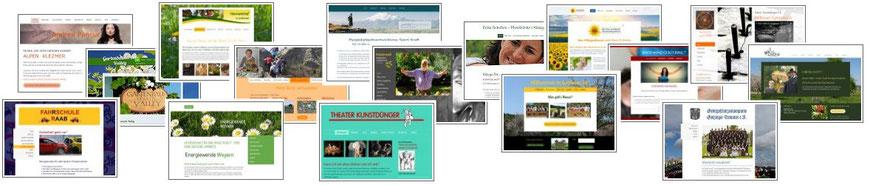 Beispiele individuell gestalteter Webseiten von Webdesignerin Elfi Weidl in HTML, mit Wordpress oder JIMDO